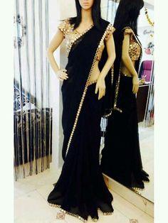 Black Georgette Saree with Real mirror work and Real mirror work blouse Black Saree Designs, Half Saree Designs, Sari Blouse Designs, Black Saree Blouse, Saree Dress, Chiffon Saree, Black Saree Plain, Lengha Saree, Plain Saree