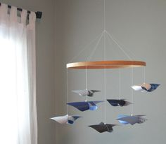 Ceiling Hung Baby Mobile / Nursery Mobile / Crib Mobile / Grey, Light Blue, Navy and White / Baby Boy : The Gentleman