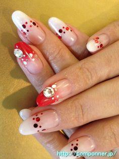 赤と白の反転グラデーションネイル    Red and white nail gradient reversal