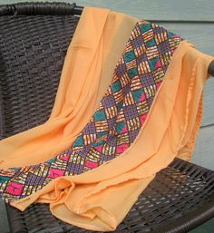 Infinity styled Peach scarf with African Print. by ImelaAfriCan Black Nativity, African Scarf, African Clothes, Scarfs, Afro, Shawl, Infinity, Fashion Accessories, Cover Up
