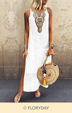 FloryDay / Solid Tunic V-Neckline Maxi Shift Dress Best Summer Dresses, Summer Outfits, Work Outfits, Sequin Party Dress, Maxi Robes, Boho Dress, Casual Dresses, Maxi Dresses, Party Dresses