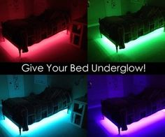 Your Bed Underglow! Give your bed 'underglow' - Does your child have a night light? What kid wouldn't absolutely love this glowing bed?Give your bed 'underglow' - Does your child have a night light? What kid wouldn't absolutely love this glowing bed? Small Room Bedroom, Girls Bedroom, Boy Bedrooms, Bedroom Night, Boys Bedroom Decor, Nursery Room, Chambre Nolan, Console Style, Cute Room Ideas