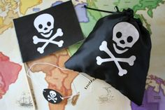 Make your own Pirate drawstring bag, Eye patch and a Pirate flag (Skull and Crossbones Templates)