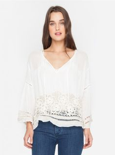 Floral Threads Peasant Top The 4 Love & Liberty FLORAL THREADS PEASANT TOP is an updated version of a hippie chic favorite. Made from a super soft cotton gauze, it features all our beloved 70's details like a bell sleeve and breezy, relaxed silhouette. Its also given our signature twist with a gorgeous cotton crochet detail along the hemline. Fresh and fab.   —Cotton Gauze —Sheer —Bell Sleeve —Care instructions: Dry clean suggested