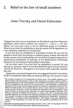 "ericcolson on Twitter: ""Belief in the Law of Small Numbers by Kahnmenan & Tversky Such an intuitive paper (intuitive only after the fact!). https://t.co/oAdA4RDs3e https://t.co/49WwT7by16"""