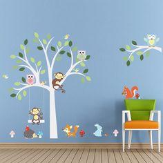 Wandtattoo Wandsticker XXL Affe Tier Kinder Baum Eule Aufkleber Wald Sticker
