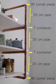 The most popular part of our kitchen seems to be our DIY copper pipe shelf. Learn how to make your own in this detailed tutorial! Copper Pipe Shelves, Diy Pipe Shelves, Plumbers Pipe Shelving, Diy Shelving, Diy Cozinha, Pipe Closet, Diy Regal, Copper Decor, Diy Wardrobe