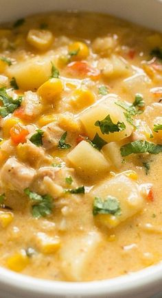Chipotle Chicken and Corn Chowder | Brown Eyed Baker http://browneyedbaker.com…