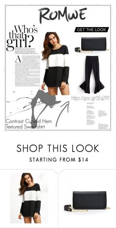 """Contrast Curved Hem Textured Sweatshirt"" by edithhlatshwayo on Polyvore Get The Look, Romwe, Contrast, Sweatshirts, Polyvore, Stuff To Buy, Shopping, Collection, Design"