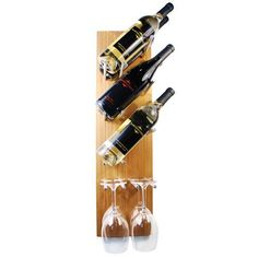 """Natural Bamboo Tilt Wine Bottle/Glass Rack - Holds 6 Bottle/w 4 Glasses (Bottle And Glasses Not Included) by HomeAndWine.com. $79.99. Bottle and glasses not included. Made from 100% natural bamboo. Includes 3 screws for easy installation. Diemensions: 1.5""""D x 9""""W x 32""""H. Holds 6 wine bottles or the option to hold 4 wine glasses. This uniquely crafted display is perfect to complement any home and made from 100% natural bamboo, re-claimed aluminimum and handmade in th..."""