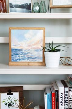 """Worth The Rise"""" fine art print. This beautiful soothing ocean landscape print is available in multiple sizes and looks beautiful in any room in your home. #wallart #artprint #landscapeprint #landscapeart #oceanart #interiorart #homedecor #shelfstyle Landscape Prints, Landscape Art, Sunrise Painting, Pink Wall Art, Beach Print, Pink Walls, Ocean Art, Framed Artwork, Fine Art Prints"""