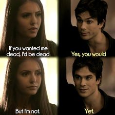 Their bickering :') Delena. Season 1. The Vampire Diaries. ♥
