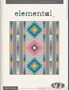 Free Quilt Pattern from Art Gallery Fabrics called Elemental Quilting Tutorials, Quilting Projects, Quilting Designs, Quilting Tips, Sewing Projects, Art Quilting, Modern Quilting, Patchwork Quilting, Machine Quilting