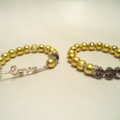 Silver Crystal Rhinestones Love Bracelets Set from LaTor-Gray Designz for $10.00