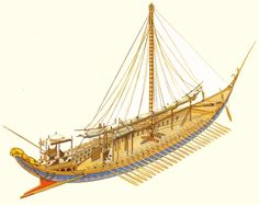 Cycladic - Minoan trading Ship - The Reconstruction is based on the famous fresco of akrotiri in Santorini island - 2000 - 1500 BCE