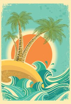 Vintage Nature Sea With Waves And Sun Poster - AllPosters.ca