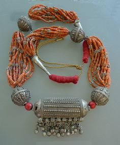 Yemen silver and coral necklace.