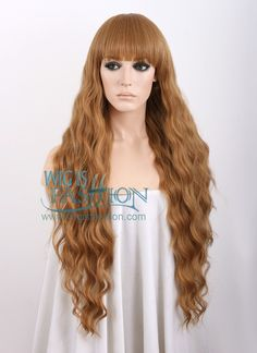Heat Resistant Long Curly Mixed Blonde Fashion Stylish Wig With Bangs WIG005