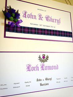 Spirit of Scotland tartan. Scottish themed table plan by Made Marvellous Table Plans, Wedding Table, Tartan, Scotland, Spirit, How To Plan, Simple, Flowers, Design