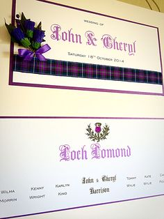 Spirit of Scotland tartan. Scottish themed table plan by Made Marvellous