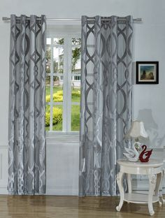 Linkedin Window Treatment Light Filtering Cutting Velvet Sheer Curtain Panel With Grommet Top 2 Pack One Pair 52 X72