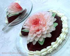 Gelatin art flower cake easy instructions. Learn cake decorating with gelatin art flowers.