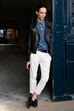 A leather jacket completes a tomboy chic look as seen on Aymeline Valade.