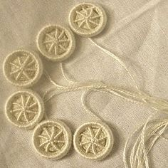 Set of six Ivory Silk Blandford Cartwheel Dorset Buttons. Each button is handmade individually, using the same needle-weaving techniques and materials that would have been used in the Dorset Button industry during Jane Auten's lifetime. Made from pure ivory silk thread is in it's undyed state.