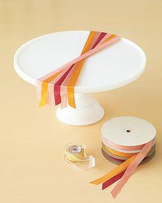 how to make a ribbon draped cake stand. Thank you Martha!