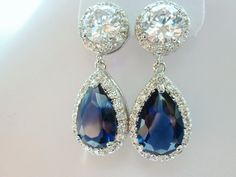 Weddings Earrings, clear white and Royal blue cubic Zirconia Round CZ Post earrings. $45.00, via Etsy.