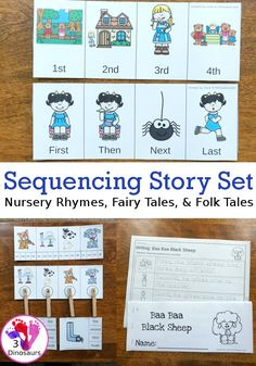 Sequencing Card Set for Stories: Nursery Rhymes, Folk Tales and Fairy Tales Rhyming Activities, Math Activities For Kids, Preschool Learning, Writing Activities, Early Learning, Educational Activities, Sequencing Cards, Sequencing Worksheets, Help Teaching