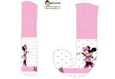 Lindo alfabeto de Minnie saludando, en rosa y blanco.   Oh my Alfabetos!