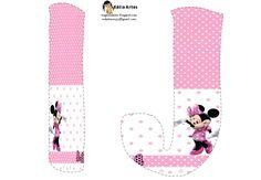 Lindo alfabeto de Minnie saludando, en rosa y blanco. | Oh my Alfabetos!