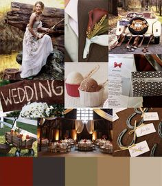 rustic wedding colors red camel and cream