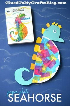 Paper Plate Seahorse! Cute craft idea for summer speech therapy or an ocean theme! Fun activity to go with Eric Carle's Mister Seahorse!