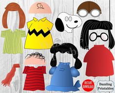 Peanuts Photo Booth Props Charlie Brown Movie Digital printable Snoopy Lucy Marcie Christmas Photobooth Foto Party Office Decorations Decor