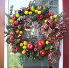 Williamsburg Christmas Wreaths | Williamsburg Style Thanksgiving~Christmas Door Wreath by Q S Creations