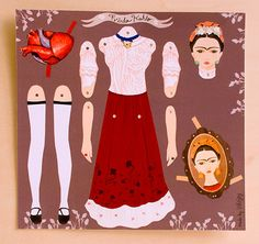 Frida Kahlo Articulated Paper Doll by INKNJOY on Etsy