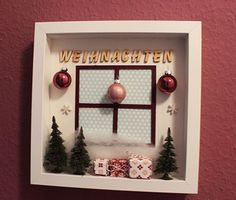 Wanddekoration mit RIBBA Frame von im Bastelfieber You are in the right place about Frame Crafts diy Christmas Box Frames, Christmas Shadow Boxes, Christmas Love, Christmas Presents, Handmade Christmas, Christmas Holidays, Christmas Decorations, Xmas, Frame Crafts