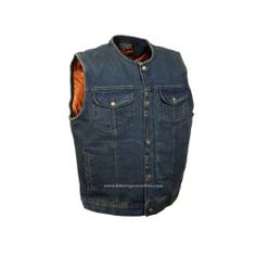 Mens Son of Anarchy Blue Denim Vest jacket Motorcycle