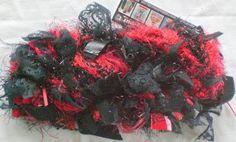 SALE - IN STOCK - WAS 38 NOW 32 - FEMME FATALE 1 Skein    Black Silver Red -  Handspun Handplied Boudoir Novelty Art Luxury Designer Yarn  - Man Made Fibers - Pleather Lace Fabric Glitter Twinkle