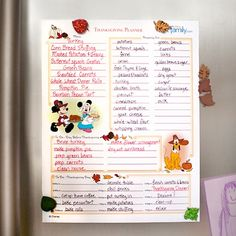 Disney Thanksgiving Planner  Thanksgiving requires a lot of planning, so let Mickey and Minnie help you!