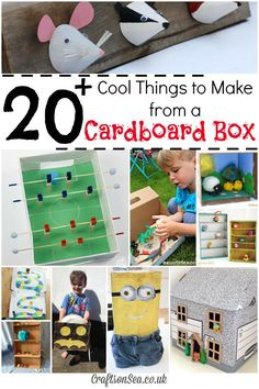 The most fun things kids can make with cardboard boxes! Awesome inspiration with these fun cardboard box crafts for kids, great recycling crafts!