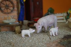 Mother Sow with her two piglets  oneofakind miniature by CWPoppets