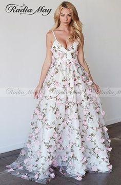 7becdf045eba1 Straps A-line V-Neck 3D Flowers Prom Dress RI. 8th Grade Formal  DressesFormal Dresses For WeddingsBohemian ...