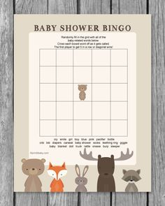Printable Baby Shower Bingo Game - Woodland Animal Theme - Print It Baby