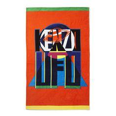KENZO UFO Beach Towel - Orange (155 NZD) ❤ liked on Polyvore featuring home, bed & bath, bath, beach towels, kenzo and velour beach towels