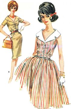 1960s Dress Pattern McCalls 6188 Day or Evening Full or Slim Skirt Dress Large Notched Collar Womens Vintage Sewing Pattern Bust 32