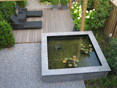 small deck sun lounge area with raised contemporary pond - rolandvanboxmeer mooie combi van materiaal