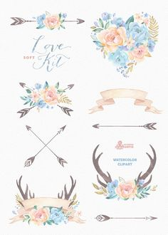 Love Kit Soft. Watercolor Clipart peonies arrows от OctopusArtis